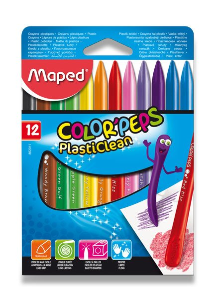 "Voskovky PlastiClean, MAPED ""Color'Peps"", 12ks"
